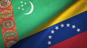 Ткань ткани флагов Туркменистан и Венесуэлы 2, текстура ткани иллюстрация вектора