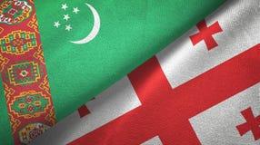 Ткань ткани флагов Туркменистан и Грузии 2, текстура ткани иллюстрация штока