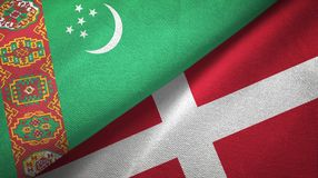 Ткань ткани флагов Туркменистан и Дании 2, текстура ткани иллюстрация штока