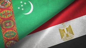 Ткань ткани флагов Туркменистан и Египта 2 иллюстрация вектора