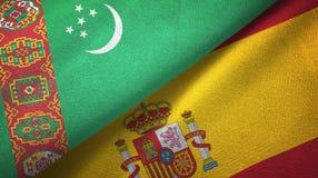 Ткань ткани флагов Туркменистан и Испании 2, текстура ткани иллюстрация штока