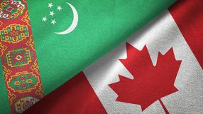 Ткань ткани флагов Туркменистан и Канады 2, текстура ткани иллюстрация штока