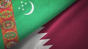 Ткань ткани флагов Туркменистан и Катара 2, текстура ткани бесплатная иллюстрация
