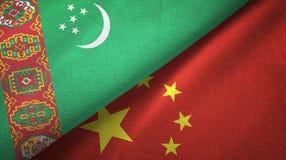 Ткань ткани флагов Туркменистан и Китая 2, текстура ткани иллюстрация вектора
