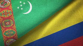 Ткань ткани флагов Туркменистан и Колумбии 2, текстура ткани иллюстрация штока