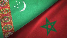 Ткань ткани флагов Туркменистан и Марокко 2, текстура ткани иллюстрация штока