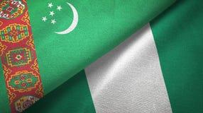 Ткань ткани флагов Туркменистан и Нигерии 2, текстура ткани иллюстрация штока