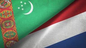 Ткань ткани флагов Туркменистан и Нидерланд 2, текстура ткани иллюстрация штока