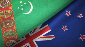 Ткань ткани флагов Туркменистан и Новой Зеландии 2, текстура ткани иллюстрация штока
