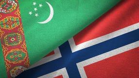 Ткань ткани флагов Туркменистан и Норвегии 2, текстура ткани иллюстрация вектора