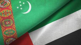 Ткань ткани флагов Туркменистан и Объениненных Арабских Эмиратов 2, текстура ткани бесплатная иллюстрация