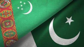Ткань ткани флагов Туркменистан и Пакистана 2, текстура ткани иллюстрация вектора