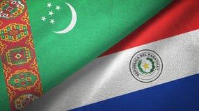 Ткань ткани флагов Туркменистан и Парагвая 2, текстура ткани иллюстрация вектора