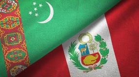 Ткань ткани флагов Туркменистан и Перу 2, текстура ткани иллюстрация штока
