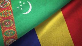 Ткань ткани флагов Туркменистан и Румынии 2, текстура ткани иллюстрация вектора