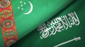 Ткань ткани флагов Туркменистан и Саудовской Аравии иллюстрация штока