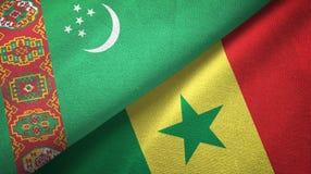 Ткань ткани флагов Туркменистан и Сенегала 2, текстура ткани иллюстрация вектора