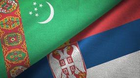 Ткань ткани флагов Туркменистан и Сербии 2, текстура ткани иллюстрация штока