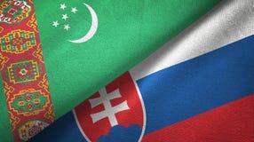 Ткань ткани флагов Туркменистан и Словакии 2, текстура ткани иллюстрация вектора