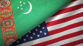 Ткань ткани флагов Туркменистан и Соединенных Штатов 2, текстура ткани бесплатная иллюстрация