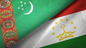 Ткань ткани флагов Туркменистан и Таджикистана 2, текстура ткани иллюстрация штока