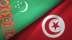Ткань ткани флагов Туркменистан и Туниса 2, текстура ткани иллюстрация штока