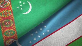 Ткань ткани флагов Туркменистан и Узбекистана 2, текстура ткани иллюстрация штока