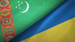 Ткань ткани флагов Туркменистан и Украины 2, текстура ткани иллюстрация штока