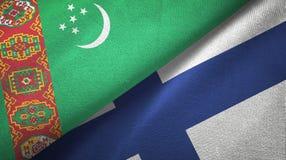 Ткань ткани флагов Туркменистан и Финляндии 2, текстура ткани иллюстрация штока