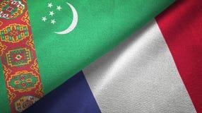 Ткань ткани флагов Туркменистан и Франции 2, текстура ткани бесплатная иллюстрация