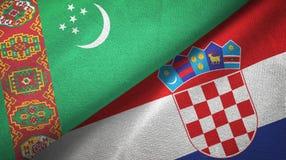 Ткань ткани флагов Туркменистан и Хорватии 2, текстура ткани иллюстрация вектора