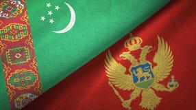 Ткань ткани флагов Туркменистан и Черногории 2, текстура ткани иллюстрация штока