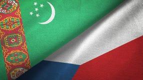Ткань ткани флагов Туркменистан и чехии 2, текстура ткани иллюстрация вектора