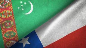 Ткань ткани флагов Туркменистан и Чили 2, текстура ткани иллюстрация вектора