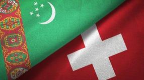 Ткань ткани флагов Туркменистан и Швейцарии 2, текстура ткани бесплатная иллюстрация