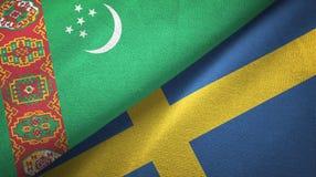 Ткань ткани флагов Туркменистан и Швеции 2, текстура ткани иллюстрация штока
