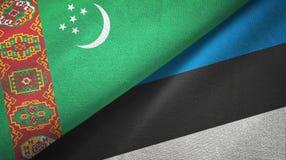 Ткань ткани флагов Туркменистан и Эстонии 2, текстура ткани иллюстрация вектора