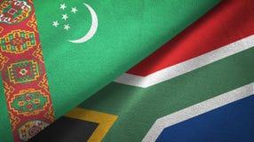 Ткань ткани флагов Туркменистан и Южной Африки 2, текстура ткани иллюстрация вектора
