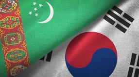 Ткань ткани флагов Туркменистан и Южной Кореи 2, текстура ткани иллюстрация вектора