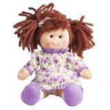 Ткань тряпичной куклы сидит изолированный Стоковые Фото