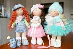 Ткань тряпичной куклы handmade с естественными волосами Стоковое Изображение RF