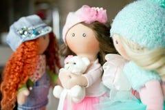 Ткань тряпичной куклы handmade с естественными волосами Стоковое Фото