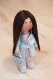Ткань тряпичной куклы handmade с естественными волосами Стоковые Фотографии RF