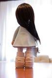 Ткань тряпичной куклы handmade с естественными волосами Стоковые Изображения