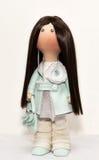 Ткань тряпичной куклы handmade с естественными волосами Стоковое фото RF