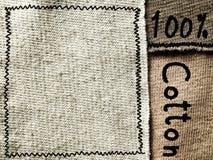 Ткань хлопко-бумажной ткани с текстом, текстурой предпосылки Стоковое фото RF