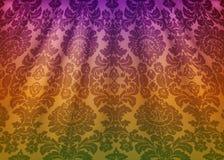 Ткань штофа задрапировывает Роскошные обои в стиле барокк Желтая предпосылка вектора текстуры grunge с флористическим орнаментом иллюстрация вектора