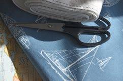 Ткань Sewin и лента занавеса Стоковые Изображения