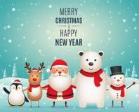 Товарищи Нового Года веселого рождества Милые животные рождества, пингвин, олени, Санта Клаус, белый полярный медведь и снеговик  иллюстрация штока
