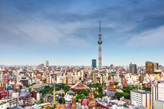Токио, горизонт Японии от Asakusa стоковое фото